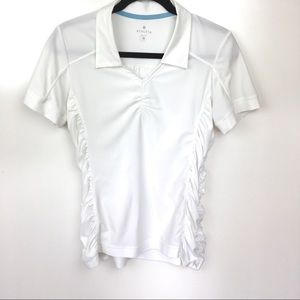 Athleta White Collared V-Neck With Ruched Sides